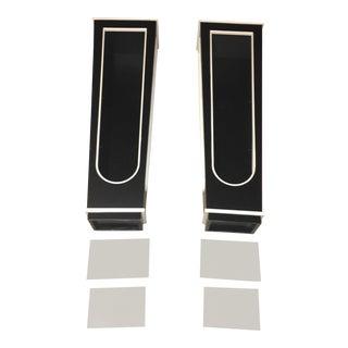 Black & White Regency Glass Wall Shelves - A Pair