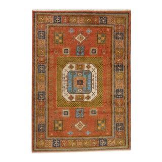 Tribal Pumpkin Orange Vintage Caucasian Kazak Rug For Sale