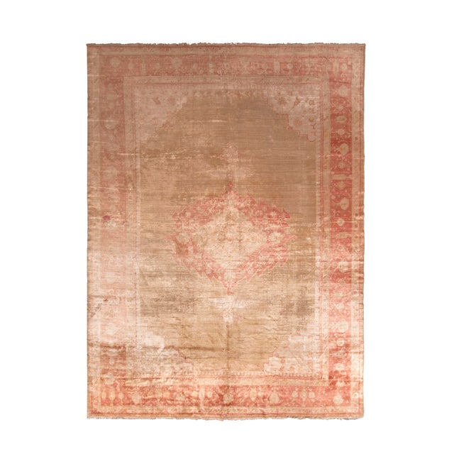 Antique Oushak Rug Red and Gold Angora-Wool Medallion Pattern For Sale In New York - Image 6 of 6