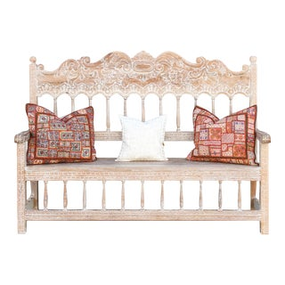 Spanish Colonial High Back Bench For Sale