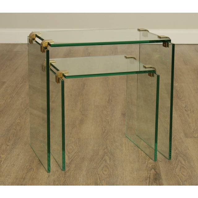 High Quality Thick Clear Glass Set of 2 Nesting Tables with Brass Hardware Supports - Unsigned Maker Possibly Leon Rosen...