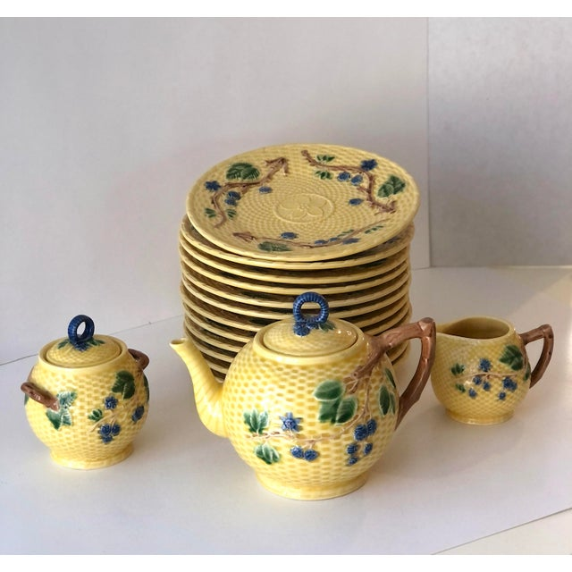 Figurative Tiffany & Co. Majolica Blackberries Tea Set With 12 Dessert Plates - Vintage For Sale - Image 3 of 12