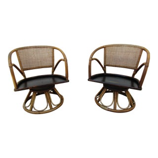 Ficks Reed Rattan Swivel Armchairs For Sale