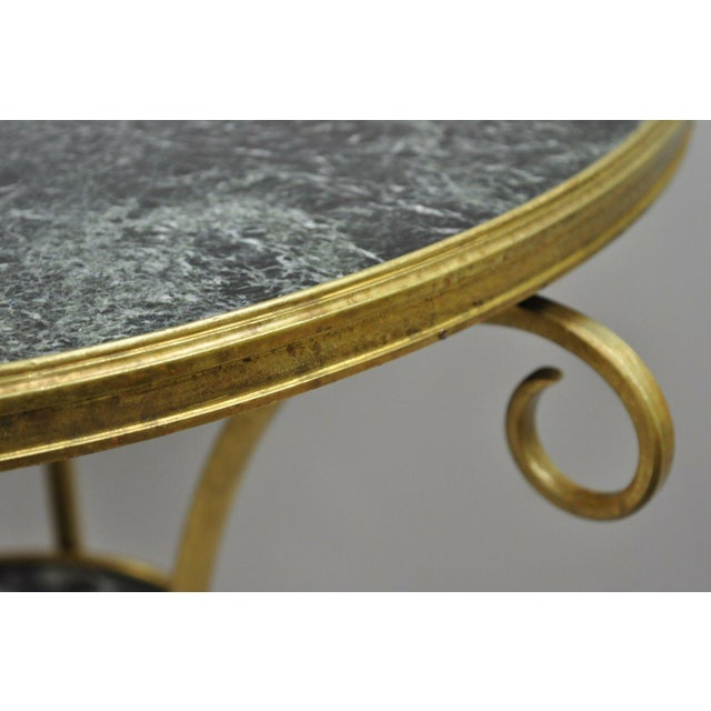 20th Century French Bronze Neoclassical Round Green Marble Top Gueridon Table For Sale In Philadelphia - Image 6 of 13