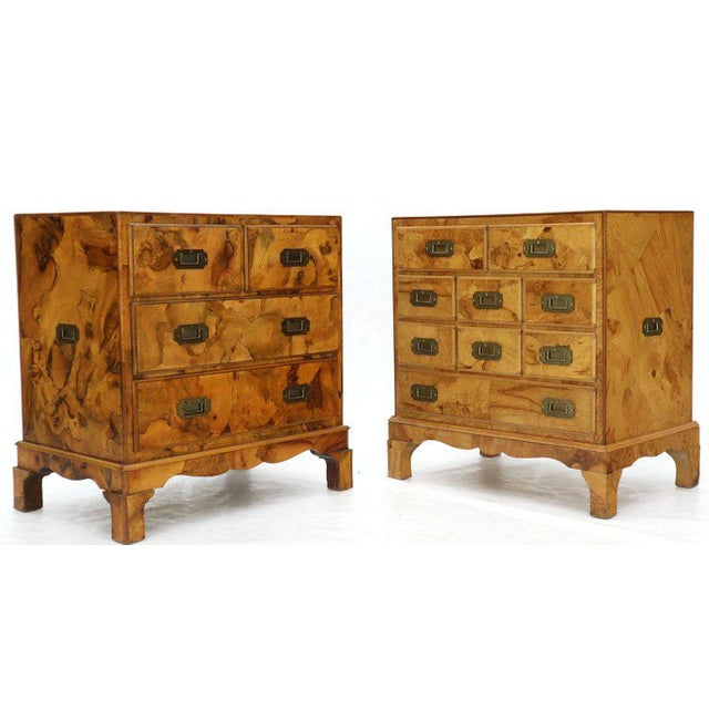 1970s Campaign Style Patch Burl Olive Wood Small Bachelor Chest Dresser Cabinet For Sale - Image 5 of 13