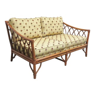 Mid Century Gothic Rattan Settee/Loveseat For Sale