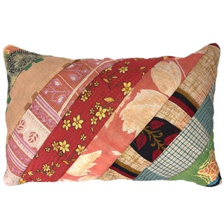 Rosy Patchwork Kantha Lumbar Pillow For Sale