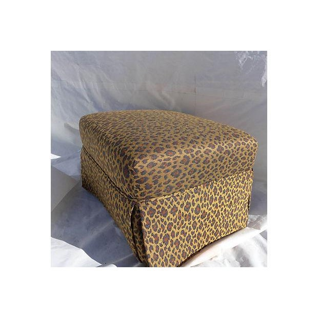 Faux Leopard Skin Upholstered Ottoman - Image 2 of 5
