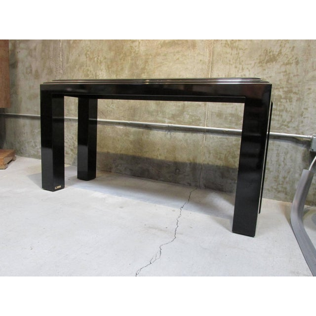 Rougier Regency Style Black Lacquer Console Table - Image 2 of 8