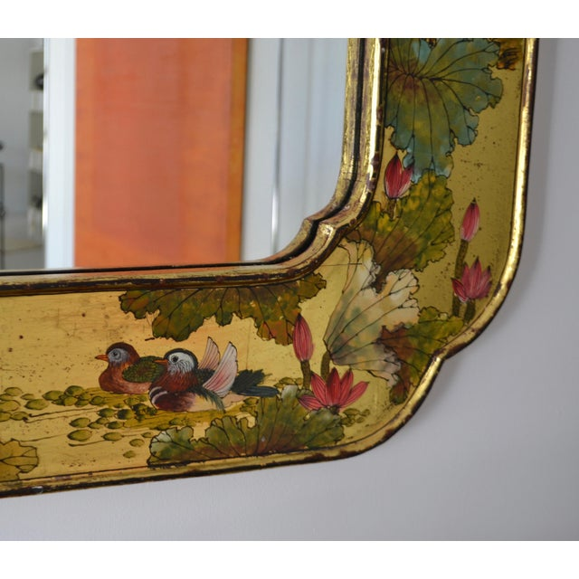 Glass Hollywood Regency Hand-Painted Giltwood Wall Mirror For Sale - Image 7 of 12
