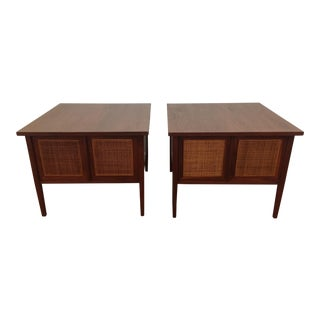 Mid Century Modern Founders Walnut and Cane Nightstands For Sale