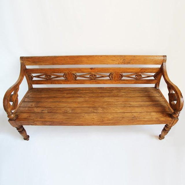Colonial Teak Carved Bench - Image 2 of 3
