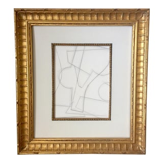 Abstract Geometric Charcoal Drawing in a Vintage Frame For Sale