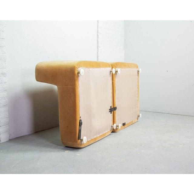 Mid-Century Design Peach Velvet Modular Lounge Sofaset, 6 Elements, Dreipunkt, Germany, 1970s For Sale - Image 10 of 11