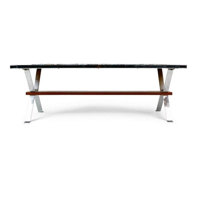 1960s Italian Chrome and Ceramic Tile Top Coffee Table, Signed For Sale - Image 4 of 11