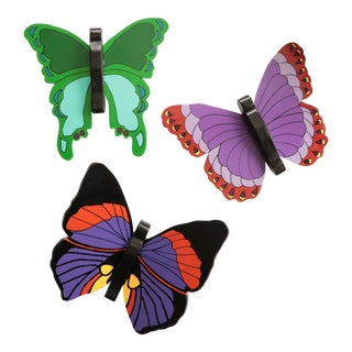 Late 20th Century Folk Art Wooden Butterflies - Set of 3 For Sale