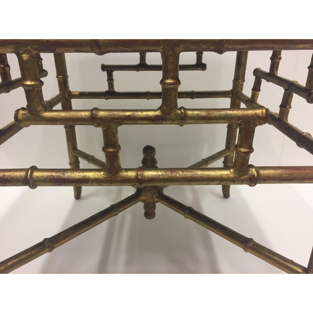 1960s Vintage Gilt Iron Faux Bamboo Ottoman Bench For Sale In Philadelphia - Image 6 of 10