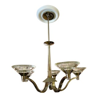 1990s Art Deco Style Nickel Plated Chrome Chandelier For Sale
