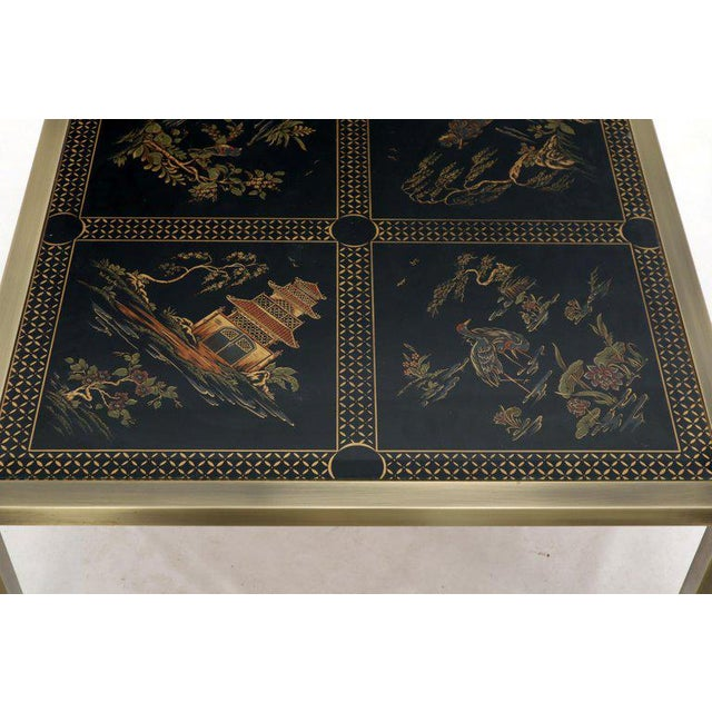 Brass and Gold Decorated Reverse Painted Glass Top Square Coffee Table For Sale - Image 12 of 13