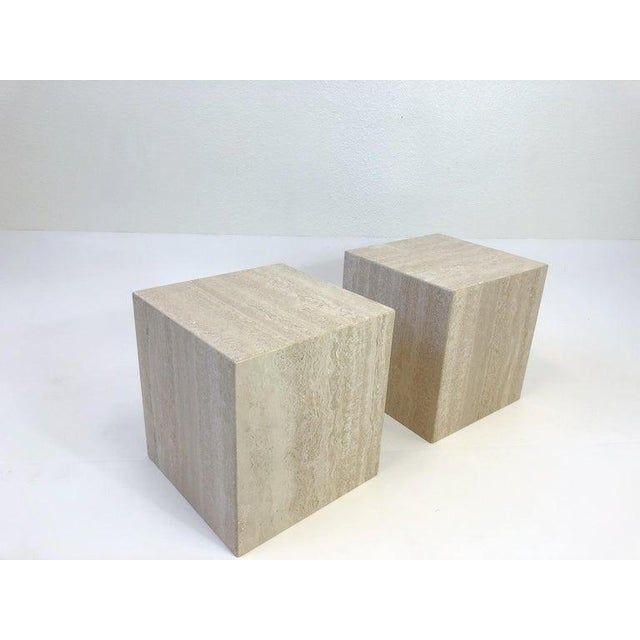 Italian Travertine Side Tables - a Pair For Sale - Image 4 of 10