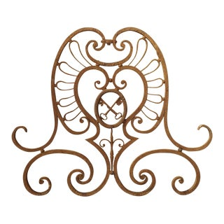 18th Century French Wrought Iron Gate Overthrow For Sale
