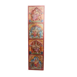 Vintage Carving Goddess Wall Sculpture/Maa Durga Hand Carved Wall Decor For Sale