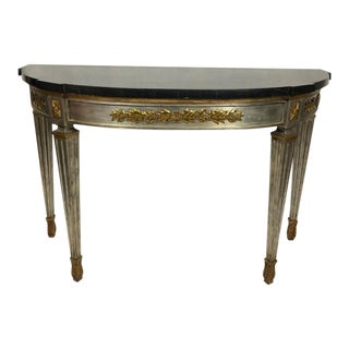 Maitland-Smith Ltd Faux Stone Marble Top Gilded Console For Sale