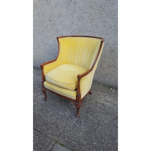 Antique Canary Yellow Velvet Armchair - Image 5 of 6
