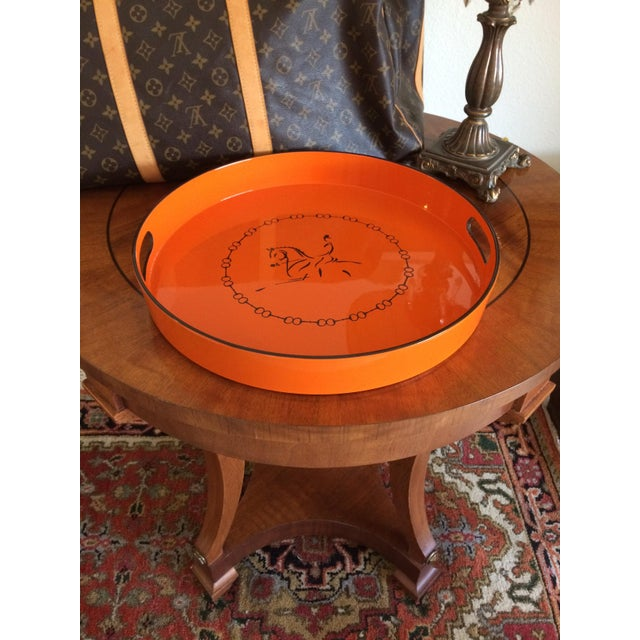 Asian Equestrian Motif Hermes Style Orange Lacquered Serving Bar Tray For Sale - Image 3 of 11