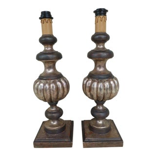 1960s Italian Palladio Silver Leaf Hand Carved Wood Lamps - a Pair For Sale