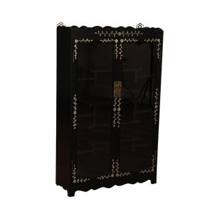Vintage Chinese Ebonized Mother of Pearl Inlaid 2 Door Small Etagere Cabinet For Sale