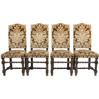 English Damask Dining Chairs - Set of 4