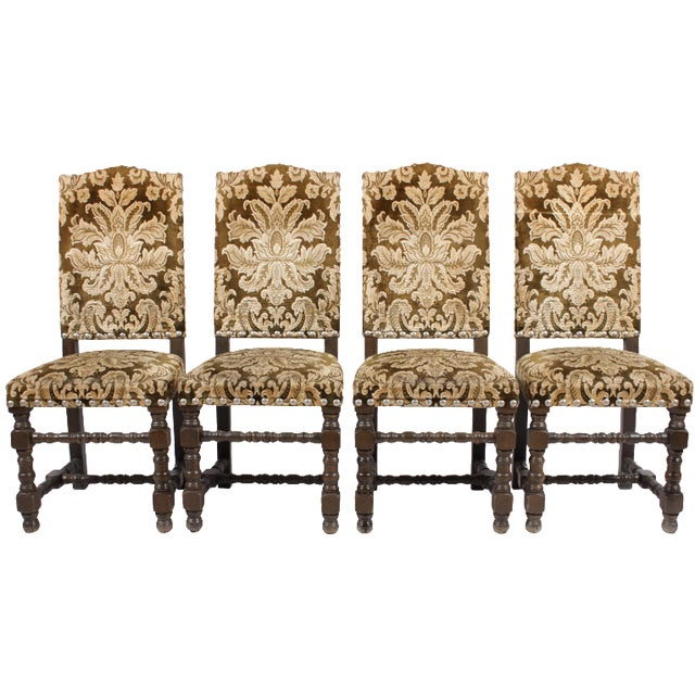 English Damask Dining Chairs - Set of 4 For Sale