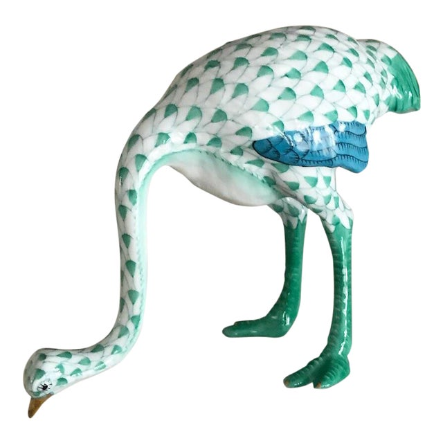 Traditional Herend Ostrich Green & White Fishnet Figurine For Sale