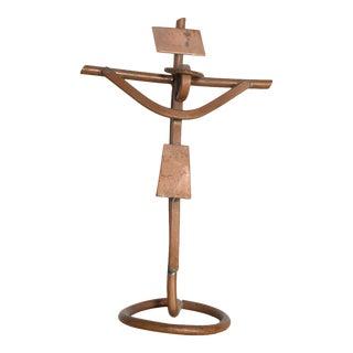 Mid Century Mathias Goertiz Cross Sculpture, Copper Silver For Sale