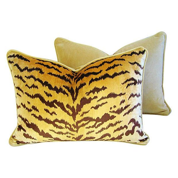 Custom Scalamandre Silk Le Tiger Pillows - A Pair - Image 4 of 6