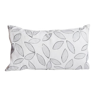Grey Leaf Pattern Kidney Pillow