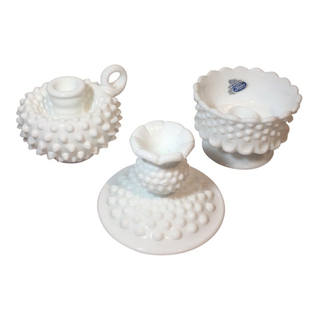 Fenton Hobnail Milk Glass Candle Holders - Set of 3 For Sale