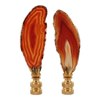 Flame Gold Plated Agate Slice Lamp Finials - a Pair For Sale