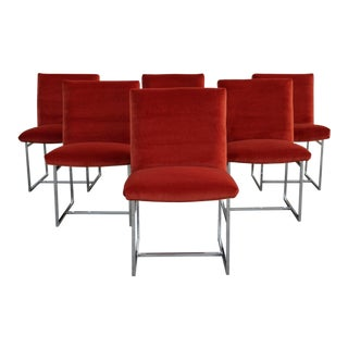 Mid Century Modern Milo Baughman for Thayer Coggin Rust Persimmon Dining Chairs-Set of 6 For Sale