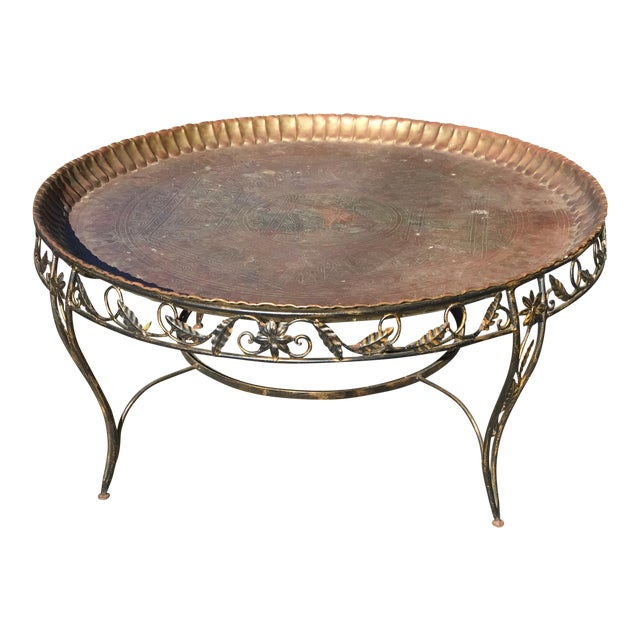 Mid-Century Modern Round Brass Tray Table with Wrought Iron Stand For Sale