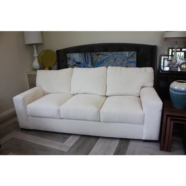 Fabric Contemporary Century Furniture White Fabric Sofa For Sale - Image 7 of 7