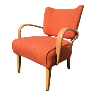 1950s M340c Heywood Wakefield Upholstered Arm Chair For Sale