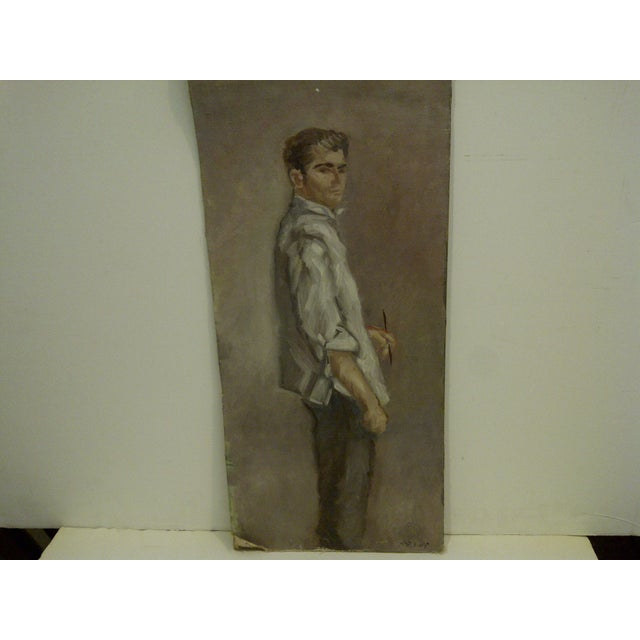 """Mid-Century Modern """"Standing Portrait"""" Original Painting by McDuff For Sale - Image 3 of 8"""
