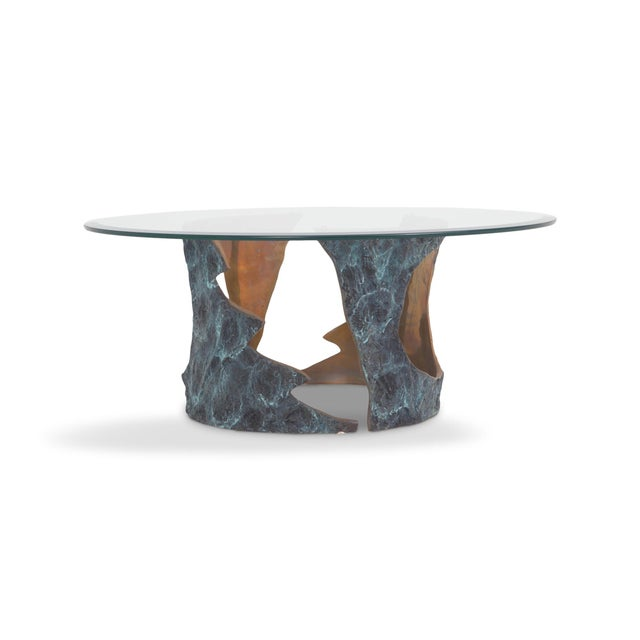Mid-Century Modern Willy Ceysens Coffee Table in Solid Bronze & Glass For Sale - Image 3 of 8