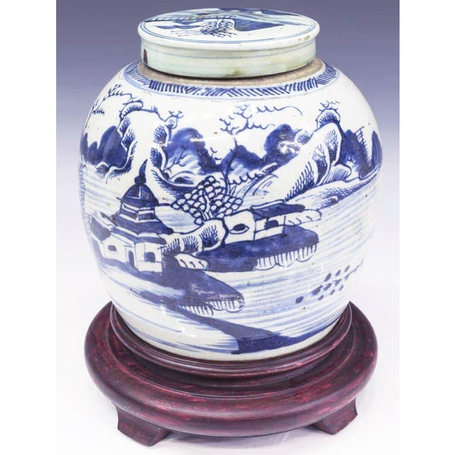 Chinese Blue & White Porcelain Covered Melon Jar For Sale - Image 4 of 4
