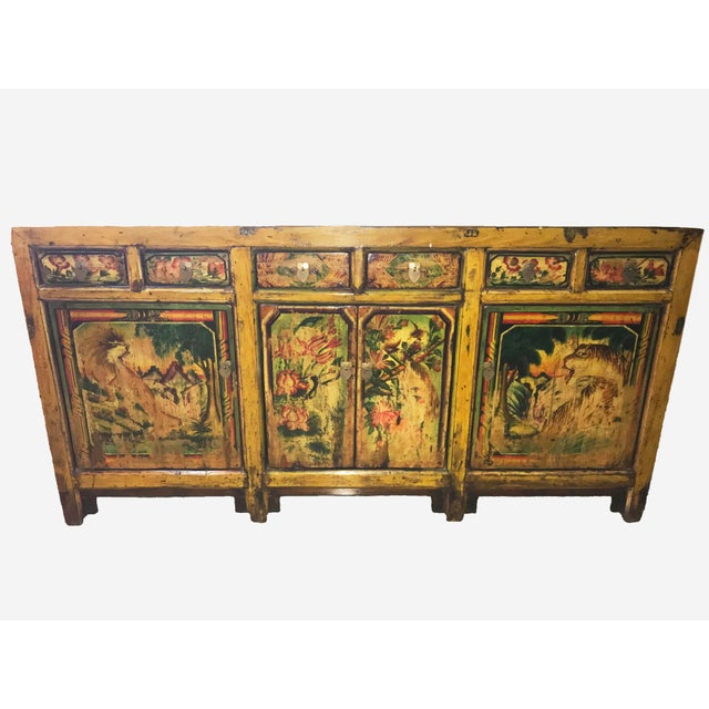 1900s Asian Antique Mongolian Hand Lacquer Painted Wildcat Cabinet For Sale - Image 4 of 4