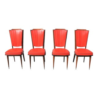 1940s Art Deco Solid Mahogany Dining Chairs - Set of 4 For Sale