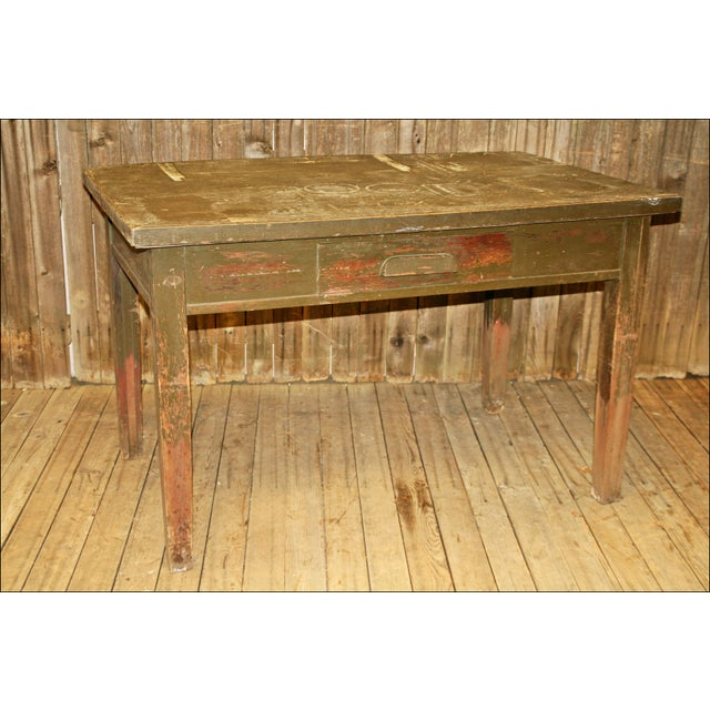 Vintage Industrial Wood Library Table - Image 2 of 11