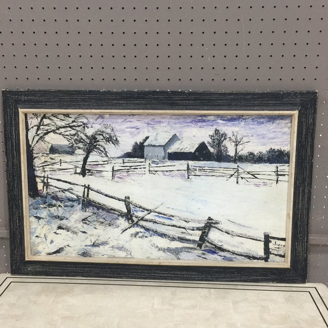 A landscape depicting a winter scene which appears to have been painted in the countryside A most beautiful use of tones...